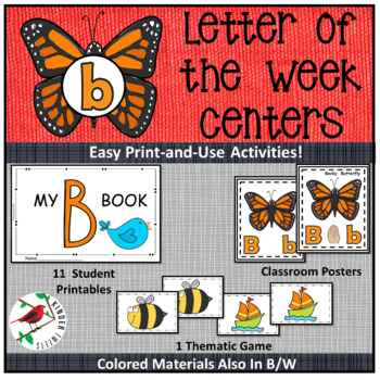PHONICS LETTER OF THE WEEK B LITERACY CENTERS