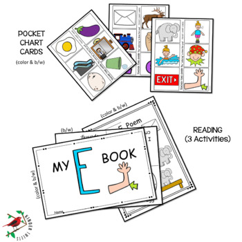 PHONICS LITERACY CENTERS FOR LETTER E  LOW PREP LETTER OF THE WEEK