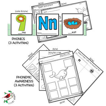 PHONICS LETTER OF THE WEEK N LITERACY CENTERS