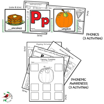 PHONICS LETTER OF THE WEEK P LITERACY CENTERS