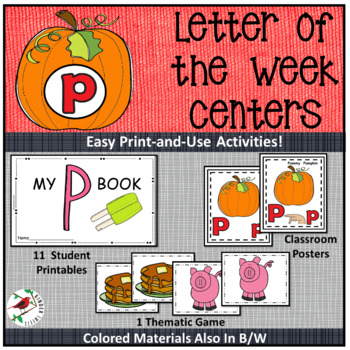PHONICS AND PHONEMIC AWARENESS ALPHABET CENTER ACTIVITIES FOR THE LETTER P
