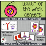 PHONICS LETTER OF THE WEEK Y LITERACY CENTERS PHONICS AND