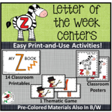 PHONICS LETTER OF THE WEEK Z LITERACY CENTERS PHONICS AND