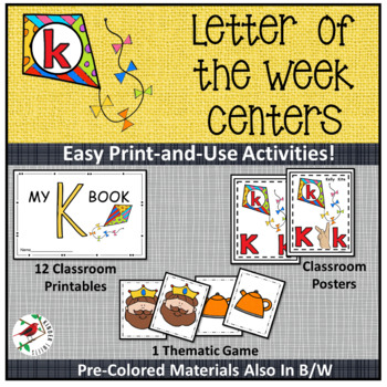 PHONICS LETTER OF THE WEEK K LITERACY CENTERS