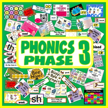 PHONICS PHASE 3 TEACHING RESOURCES EYFS KS1 READING LETTER