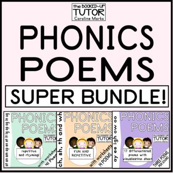 PHONICS POEMS {PHONICS POETRY} {READING FLUENCY} 72 poems bundle worksheets