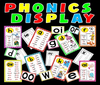 PHONICS POSTERS FLASHCARDS TEACHING RESOURCES KS1 EYFS LITERACY ALPHABET