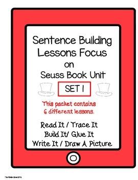 PHONICS SENTENCE BUILDING ** SEUSS BOOK STUDY * READ.TRACE.BUILD.WRITE IT!