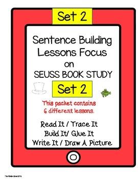 PHONICS SENTENCE BUILDING ** SEUSS BOOK STUDY SET 2 * READ.TRACE.BUILD.WRITE IT!