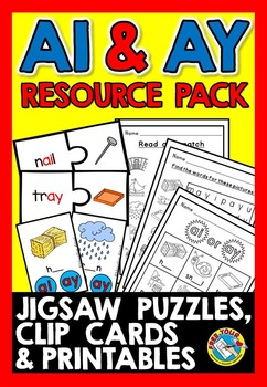 VOWEL TEAMS ACTIVITIES (AI AND AY VOWEL TEAM WORKSHEETS, VOWEL TEAMS CENTERS)