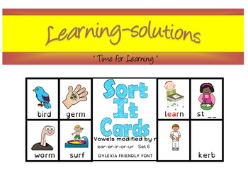 PHONICS & SPELLING - SORT IT CARDS - Vowels modified by r