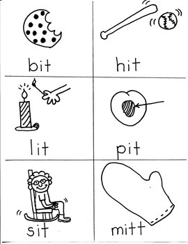 PHONICS TARGETS (short  /i/  word families) for FIRST GRADE ARTISTS