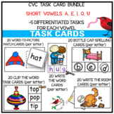 PHONICS TASK CARD BUNDLE SHORT VOWEL CVC WORDS FOR EMERGEN