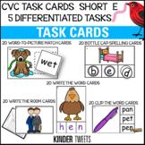 PHONICS TASK CARDS FOR SHORT E CVC WORDS FOR EMERGENT READERS