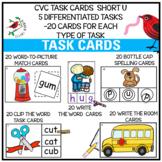 PHONICS TASK CARDS FOR SHORT U CVC WORDS FOR EMERGENT READERS