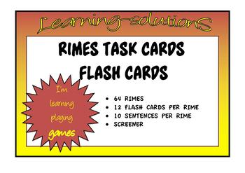 PHONICS - TASK CARDS and FLASH CARDS with CHECKLIST for SCREENING - 64 RIMES