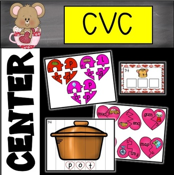 Valentine's Day Literacy Center-Phonics (CVC)