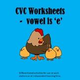 PHONICS WORKSHEETS - CVC - e is the vowel