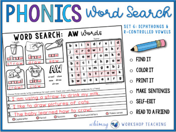 PHONICS Word Search and Write 6 (Diphthongs and R-Controll