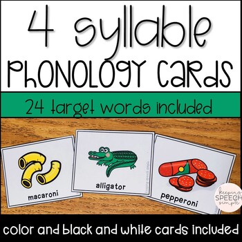 PHONOLOGY CARDS FOR SPEECH THERAPY - 4 SYLLABLES