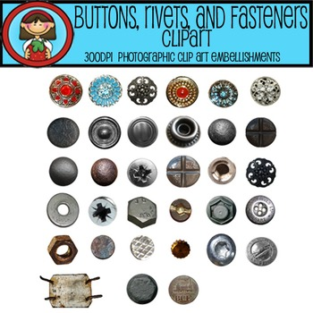 PHOTO EMBELLISHMENTS Rivets, Buttons, Nailheads, Screws, Fasteners 300dpi