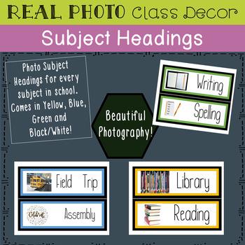 Classroom Decor REAL PHOTO Subject Headings