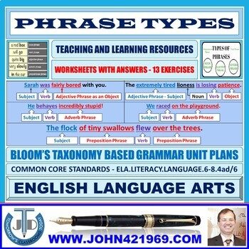 PHRASE TYPES: 13 WORKSHEETS WITH ANSWERS