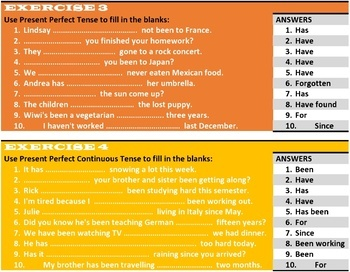 PRESENT TENSE WORKSHEETS WITH ANSWERS
