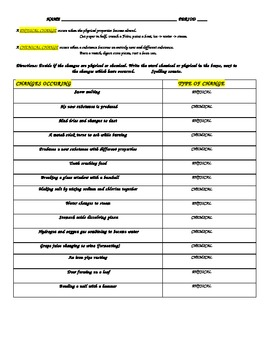 PHYSICAL / CHEMICAL CHANGE WORK SHEET WITH ANSWERS | TpT