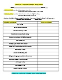 PHYSICAL / CHEMICAL CHANGE WORK SHEET WITH ANSWERS