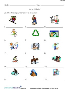 PHYSICAL ENVIRONMENT ACTIVITIES, VOCABULARY (SPANISH 2016 EDITION)