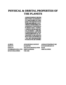 PHYSICAL  & ORBITAL PROPERTIES OF PLANETS WORD SEARCH