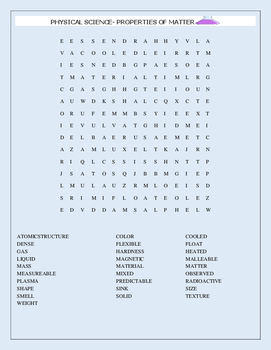 PHYSICAL SCIENCE-PROPERTIES OF MATTER WORD SEARCH