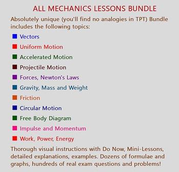 PHYSICS: MECHANICS LESSONS BUNDLE: Do Now, Mini-Lessons, Assessment. 30% SAVINGS