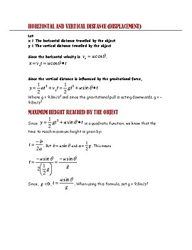 PHYSICS: OBJECTS IN PROJECTILE MOTION