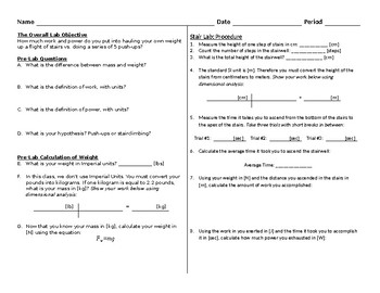 PHYSICS - Stairwell vs. Push-up Work/Power Lab (Worksheet)