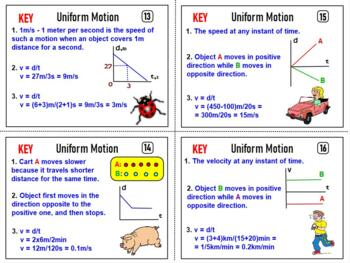 PHYSICS: UNIFORM MOTION TASK CARDS. GRAPHS, PROBLEMS, TEST PREPARATION, HOMEWORK