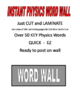 PHYSICS WORD WALL -  HIGH QUALITY  50+ WORDS JUST CUT AND LAMINATE SALE $8.50