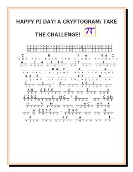 PI DAY: A MATH CHALLENGE: CRYPTOGRAM!  GRADES- 5-11, MG