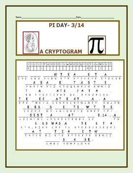 PI DAY: A FUN CRYPTOGRAM: CAN YOU SOLVE IT? GRADES 4-9, MG