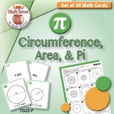 PI DAY ACTIVITIES Circumference, Area, and Pi: 40 Math Game Cards 7G22-F