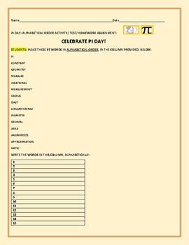 PI DAY ACTIVITY: ALPHABETICAL ORDER: ASSIGNMENT/TEST/HOMEWORK