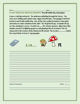 PI DAY CREATIVE WRITING PROMPT: THE ELF & THE CALCULATOR