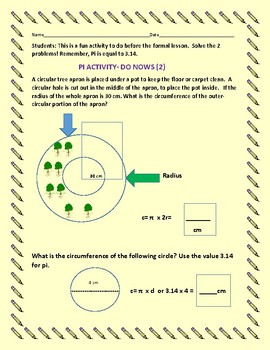 PI DAY: DO NOW ACTIVITY: This is a 2 problem geometry activity on measurement