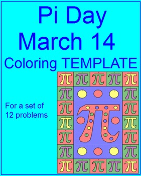 PI Day - Coloring Template (For Personal Use Only) FREE in a few products