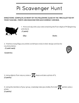 PI Day Scavenger Hunt