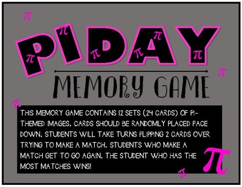PI day Memory Game