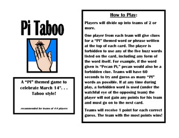 PI day Taboo Game