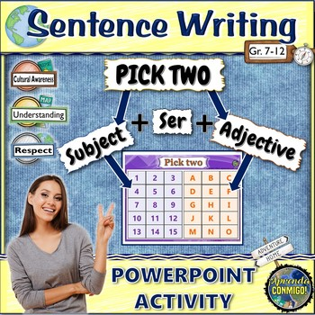 Write Sentences/Adjective Agreement (Spanish): PICK TWO PowerPoint activity/game