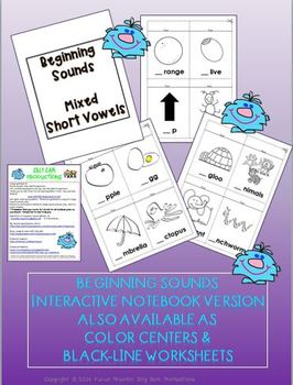 PICTURE PAGES INTERACTIVE NOTEBOOK Set 2 Beginning Sounds